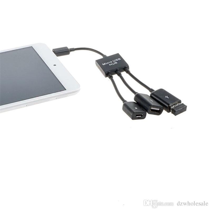 100 шт. / лот* 3 в 1 Micro USB OTG концентратор кабель разъем Spliter 3 порта Micro USB зарядное устройство для зарядки для Samsung Google Nexus