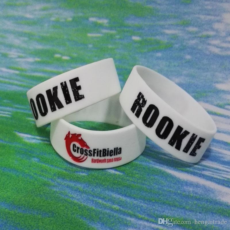 High Qualit 3 / 4inch RO0KIE Debossed Y tinta llena de goma de caucho pulseras pulseras para regalos promocionales SS003