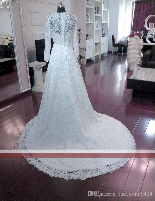 높은 품질 레이스 웨딩 드레스 긴 소매 라인 플라이 긴 소매 빈티지 신부 드레스 단추와 다시