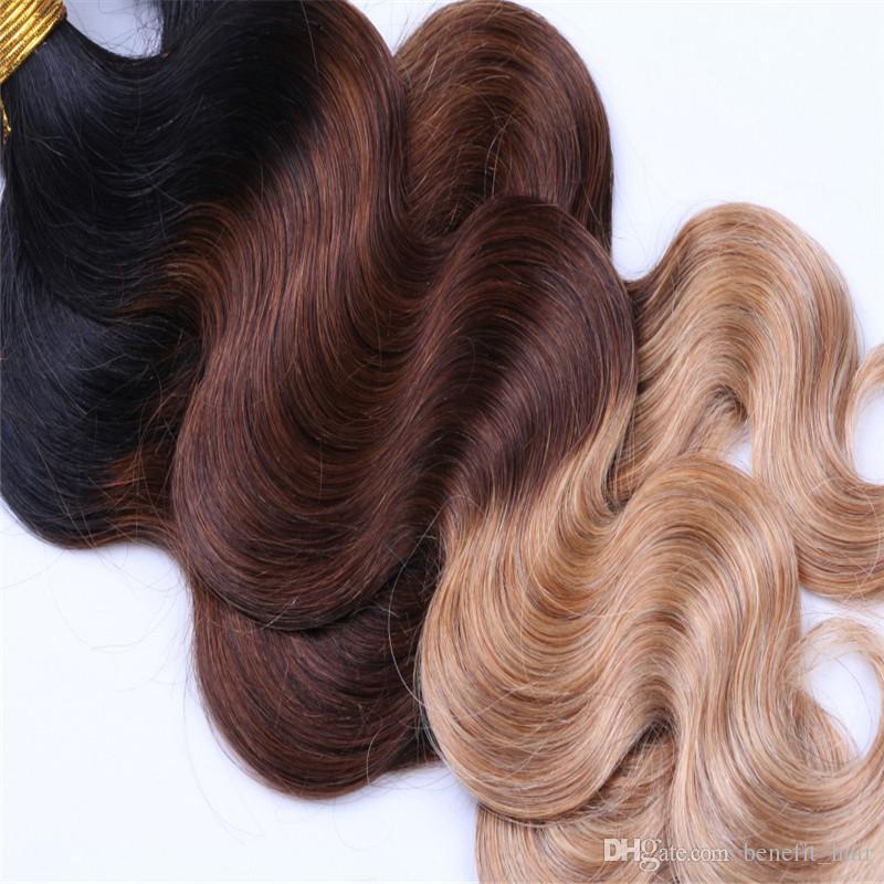 8A 1b/4 / 27 бразильский ломбер волос пучки с закрытием кружева три тона цветные волосы ткать с закрытием тела волнистые 4 шт. / лот