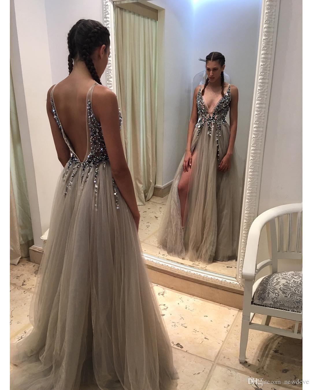Side Spilt Berta Formal Evening Gowns Beaded Backless Evening Dresses V Neck Sweep Train Prom Dress