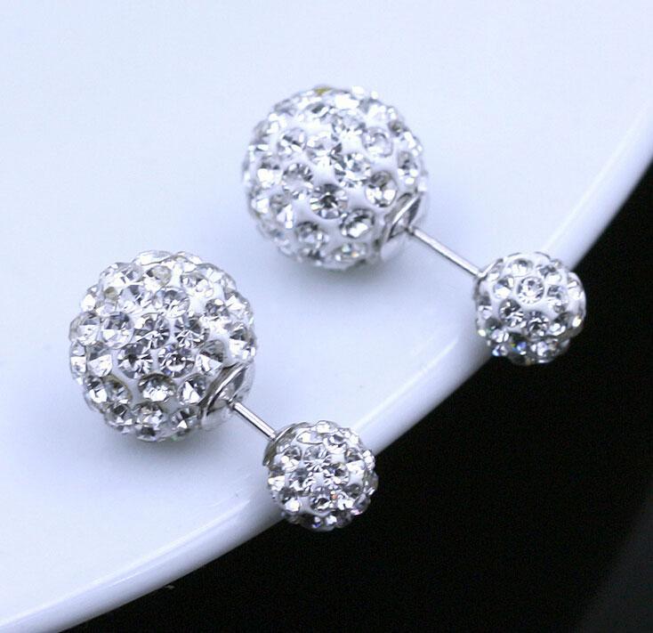 Çift Yan Küpe Vintage Shamball Disko Topu Kulak Takı Beyaz Altın Kaplama Gümüş Kristal Top Bohemian Düğün Çift Taraflı Küpe