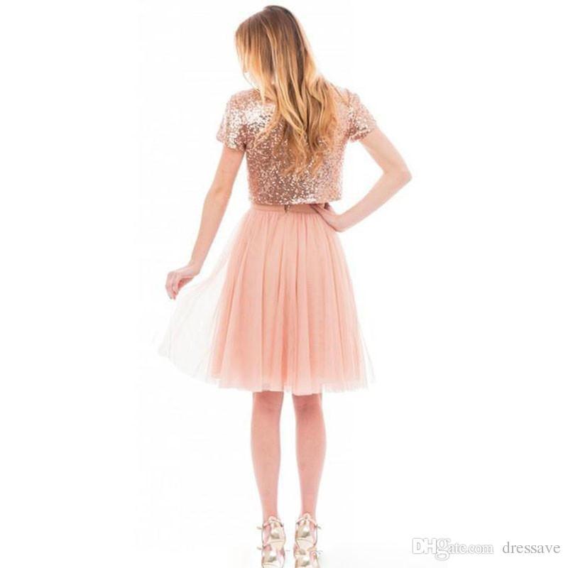 2018 İki Adet Sparkly Pembe Gül Altın Payetli Gelinlik Modelleri Plaj Ucuz Kısa Kollu Artı Boyutu Genç Balo Parti Elbiseler