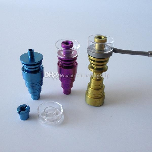 Hot selling 10mm/14mm/18mm colorful DualiTi Quartz Titanium Hybrid nail fit flat 10mm coil heater for glass water bong dab oil rigs