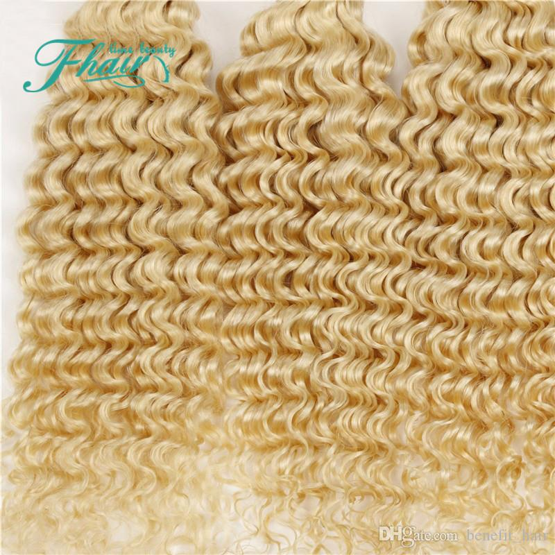 9A Brasileño Rizado Profundo Rubio El cabello humano teje # 613 Platinum Bleach Blonde Hair 4 Bundles Deep Deep Curly Blonde Tramas Extensiones