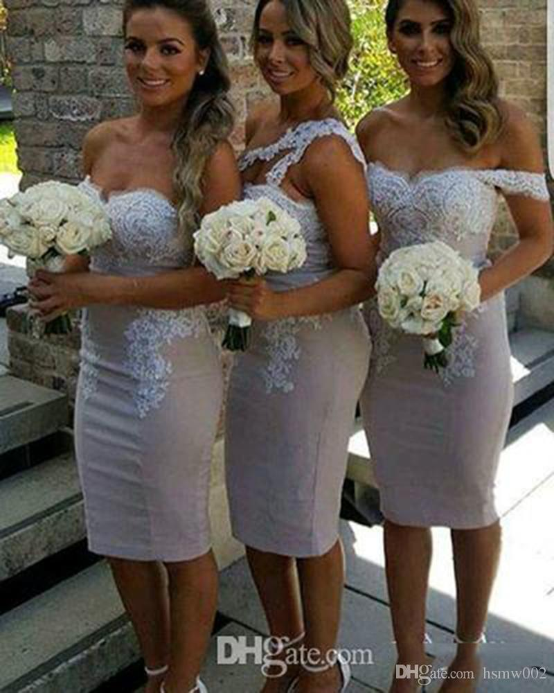 Sexy Mermaid Sheath Short Bridesmaid Dresses Mixed Styles Backless Knee Length Wedding Party Dresses Formal Evening Party Gowns