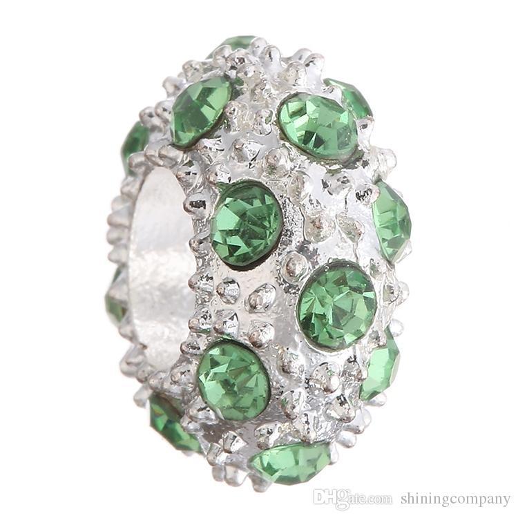 패션 DIY 크리스탈 비즈 실버 라운드 CZ 다이아몬드 매력 비즈 맞는 원래 팔찌 12 색 크리스탈 실버 비즈