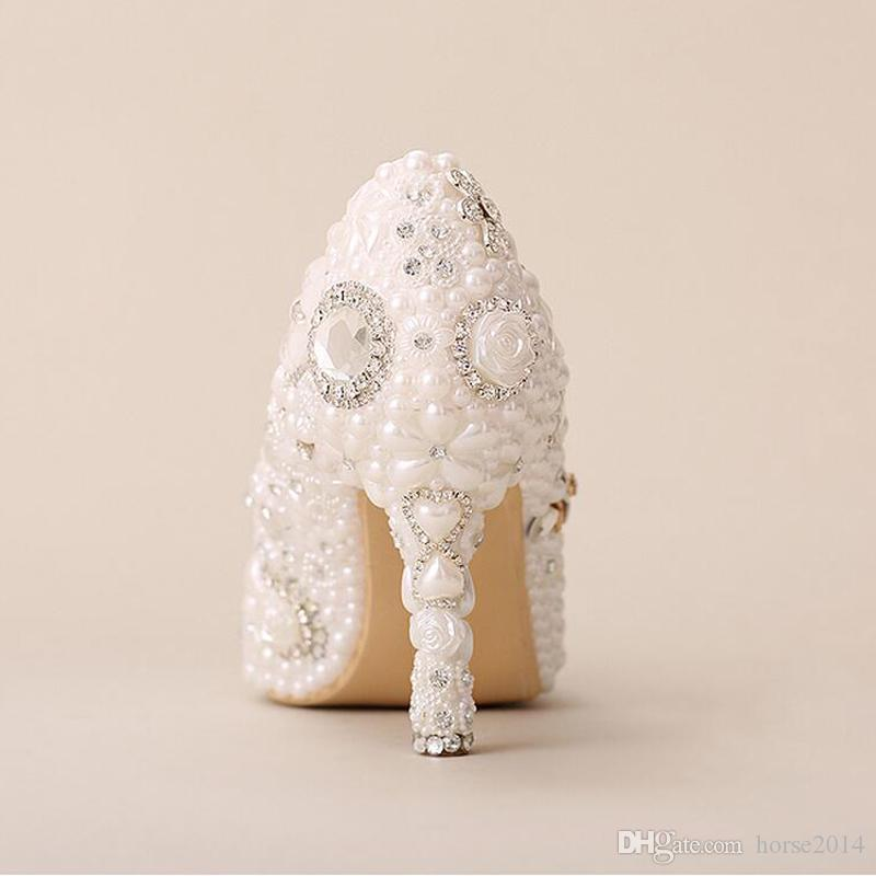 White Wedding Shoes Pointed Toe Formal Dress Shoes Pearl Rhinestone Bridal Shoes Women High Heels Mother of The Bride Shoes