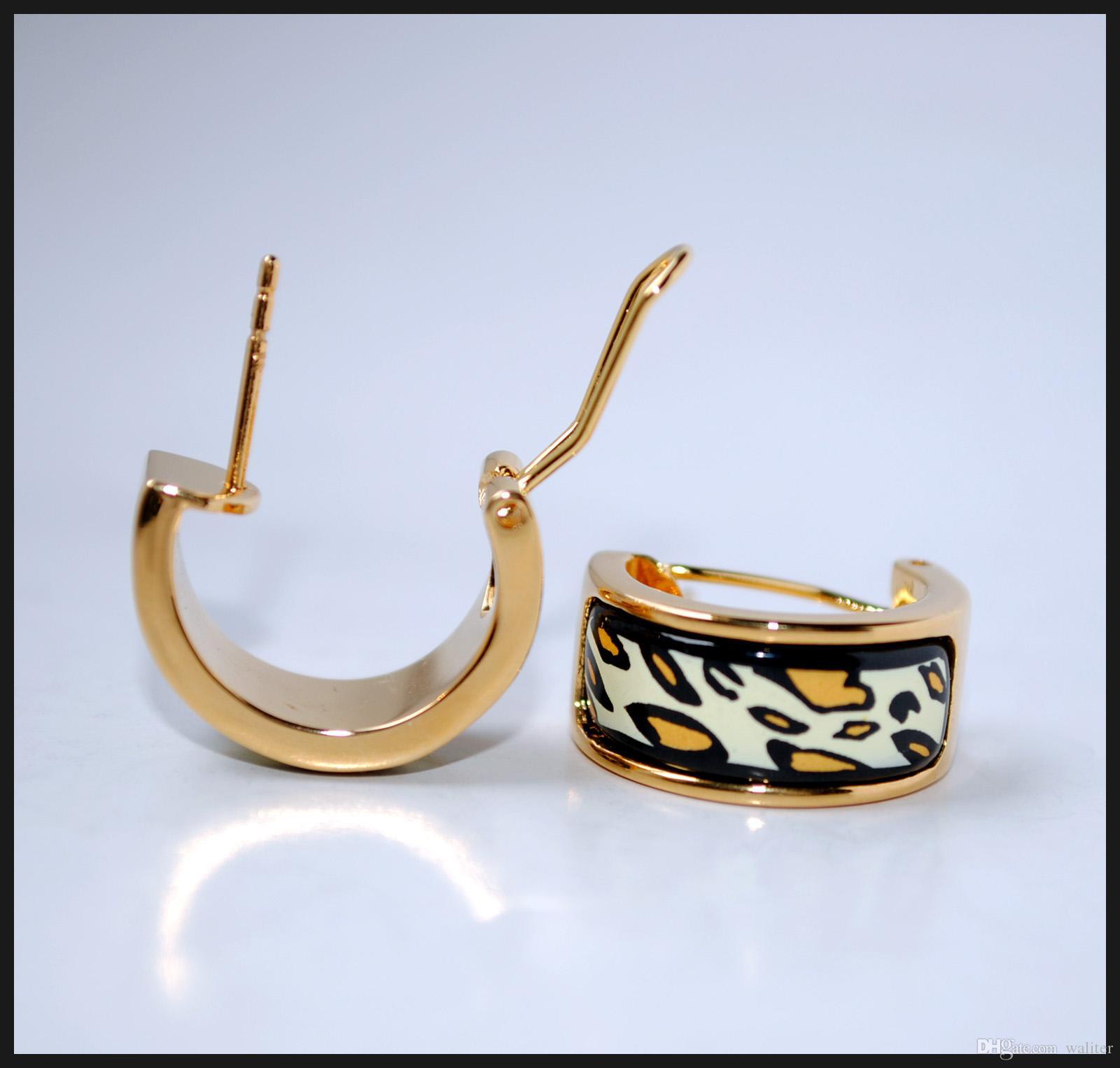 Pendientes de aro de aro de la serie Leopard 18k Pendientes de esmalte chapado en oro para mujer Joyería de diseño de alta calidad