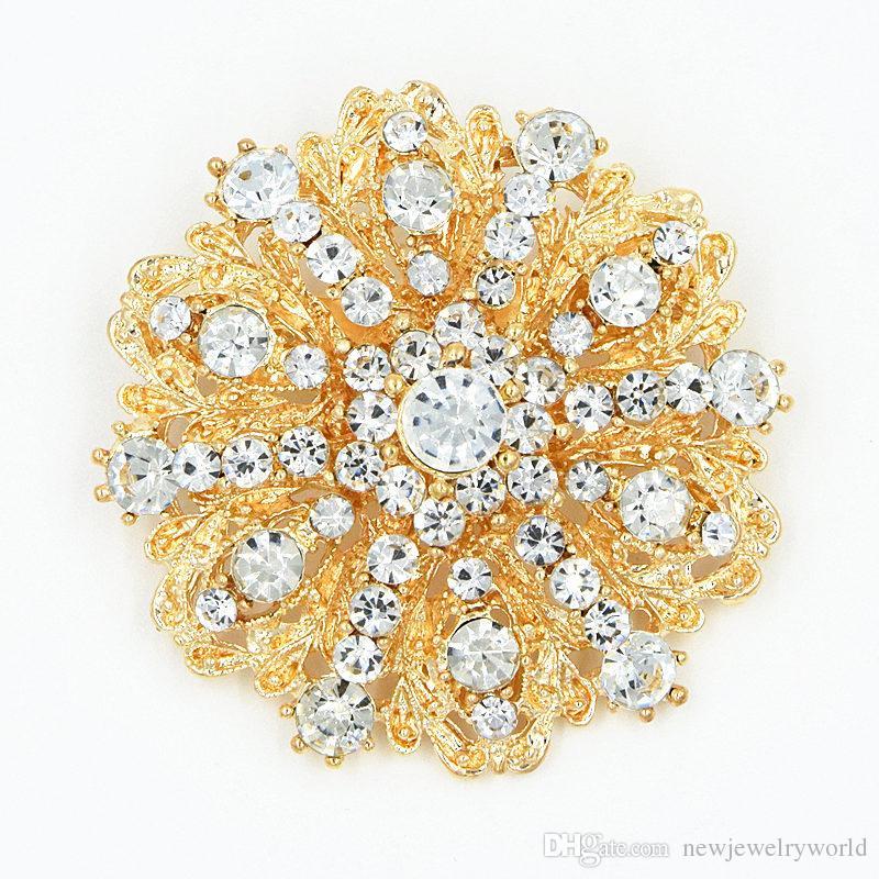 Moda de la vendimia Venta Caliente Impresionante Diamante Flor Broche Broche de Novia Traje Broches Elegante Regalo Pasadores de Calidad Superior de la Venta caliente