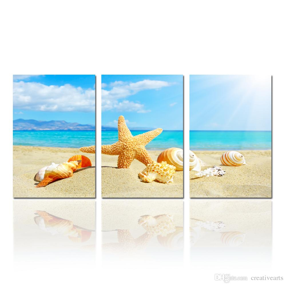 modern starfish and seashalls on beach canvas print wall painting