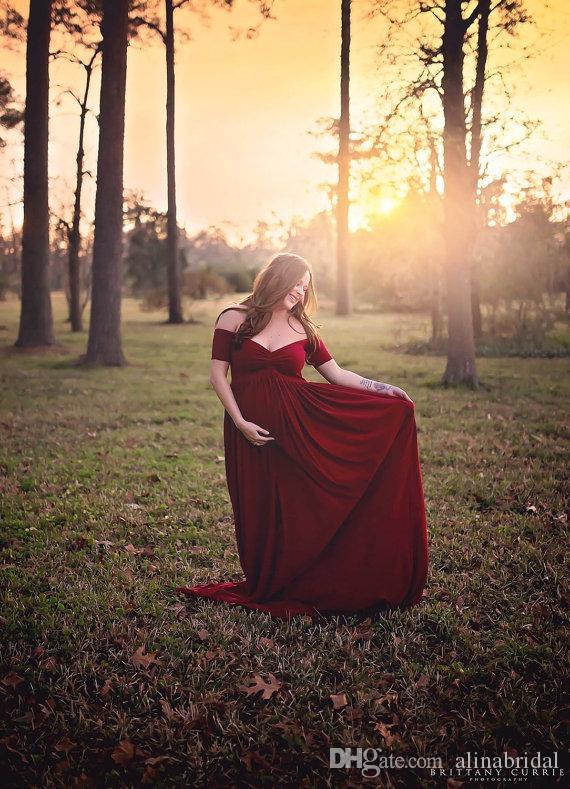 2016 Sexy Schulterfrei Schwangere Abendkleid Eine Linie Spandex Bodenlangen Reißverschluss Dunkelrot Abendkleid Nach Maß
