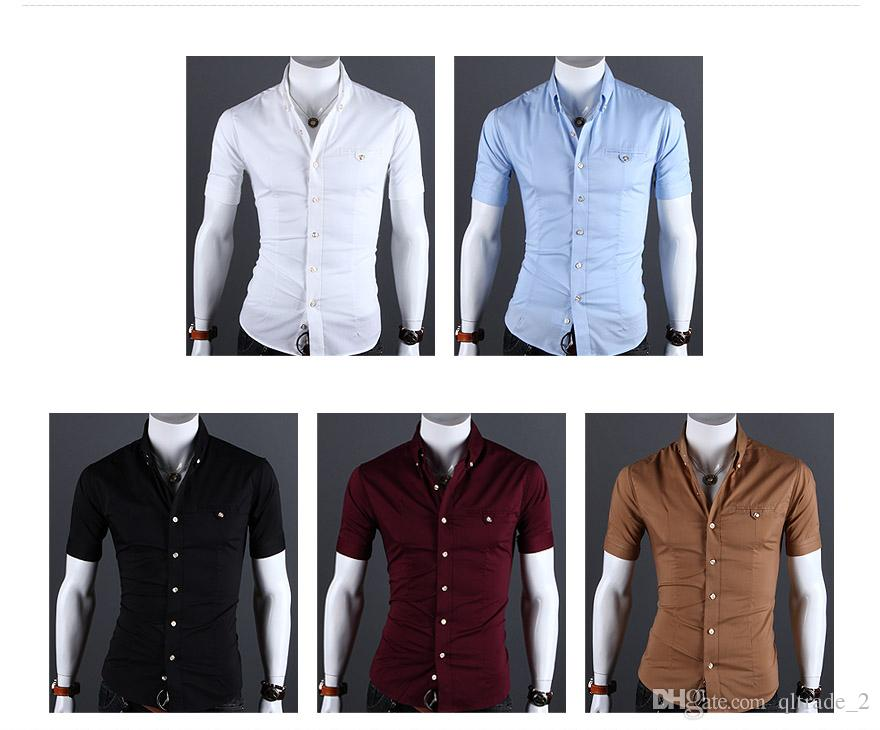 슬림 피트 셔츠 캐주얼 반소매 셔츠 봄 여름 정장 반소매 셔츠