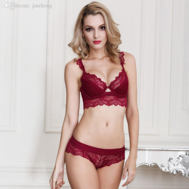 37810ae8e301 2019 Wholesale Women'S Sexy Ultra Thin Red Lace Transparent Bra Set Plus  Size Deep V Brassiere Girl Push Up Bra And Panties Brief Set ABCD From  Jinzhong, ...