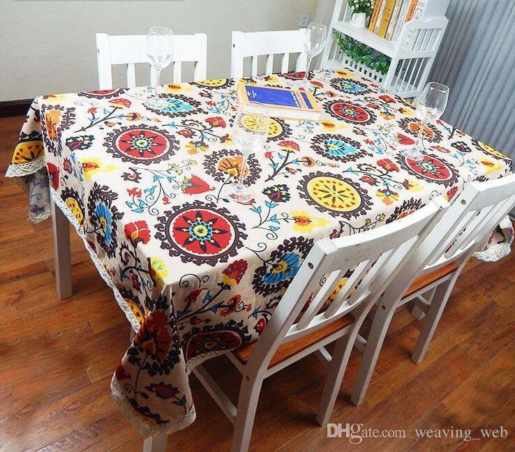 Linho de Algodão europeu Estilo Mediterrâneo Toalhas De Mesa Quadradas capas de Girassol Impressão Toalha De Mesa Para toalha de mesa de casamento
