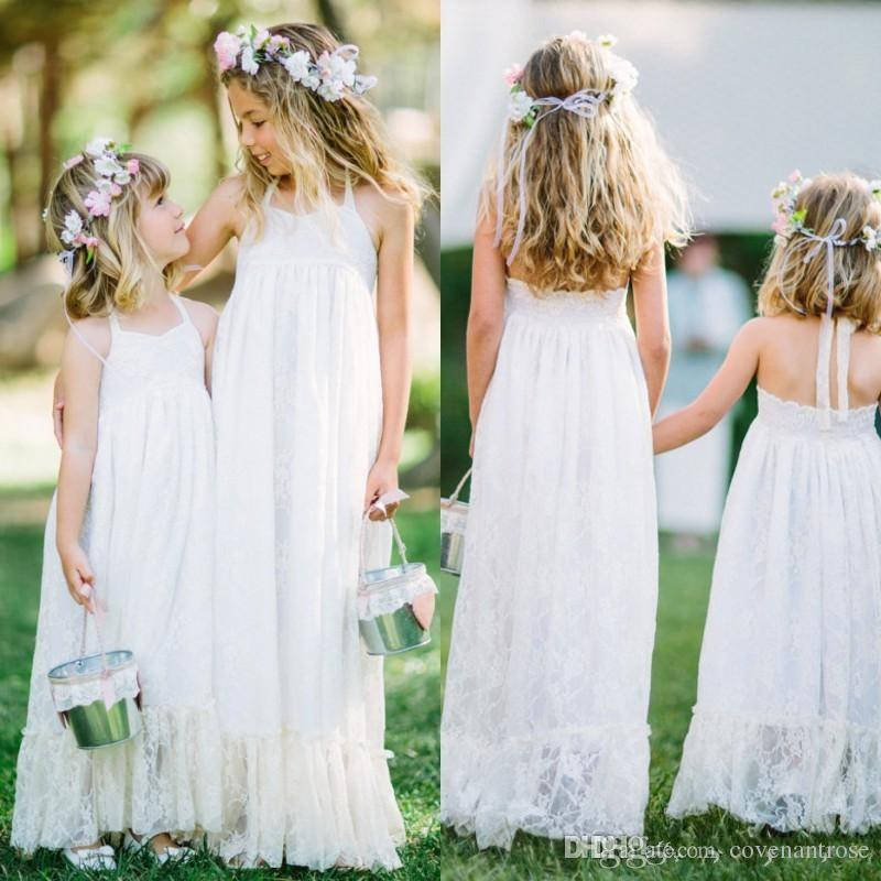 168bbedc0 Elegant Lace Flower Girl Dresses For Beach Weddings Cute Halter Sleeveless  Long Floor Length Kids Formal Gowns Cheap Kids Gown Design Dresses Of Girls  ...