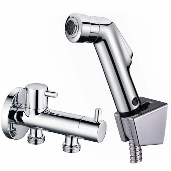 Banheiro de cobre cromo nova função dois de saída de água Válvula de Ângulo banheiro chuveiro abs spray e titular bidet gun torneira versátil chuveiro BD110