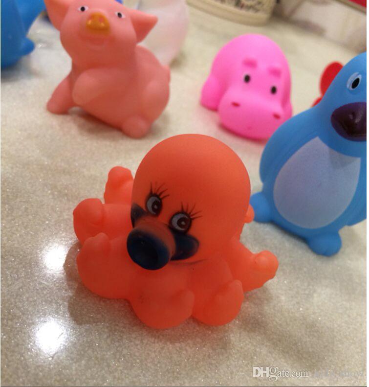 100 Шт. Смешанные Животные Плавательные Воды Игрушки Красочные Мягкие Плавающие Резиновые Утки Сожмите Звук Скрипучий Купание Игрушки Для Детские Игрушки Для Ванны