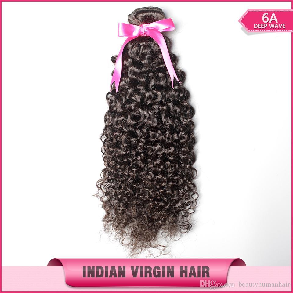 Индийский кудрявый вьющиеся волосы ткать необработанные 6A естественный цвет волос расширение 8-30 дюймов пучки 3 шт. / лот Бесплатная доставка
