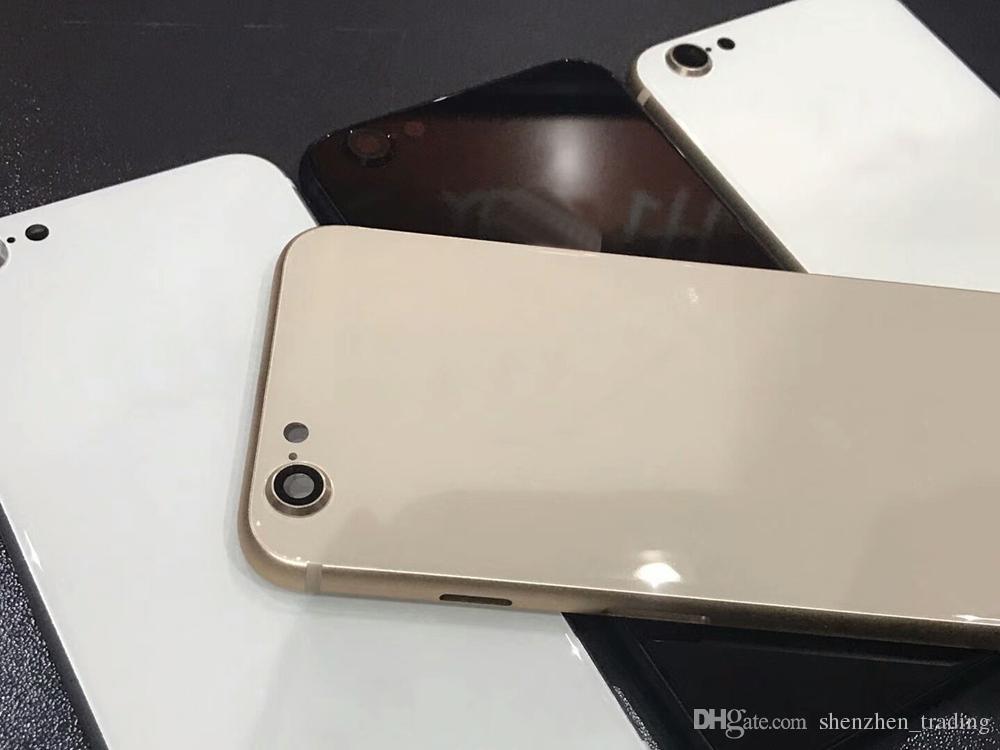 Para el iPhone 8 Plus, alojamiento trasero con marco de metal reemplazo de la puerta de la batería para el iPhone 6 6plus 6Splus negro blanco oro envío gratis