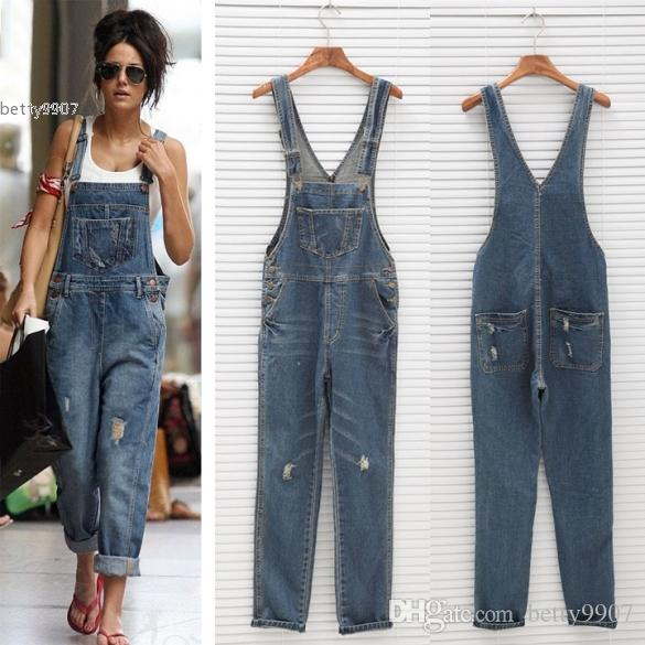 c8934da0b33 2019 2017 New High Waist Rompers Jeans Overalls Denim Jumpsuits Pants Woman  Fashion Lady Female Big Size Trousers Jeans From Betty9907