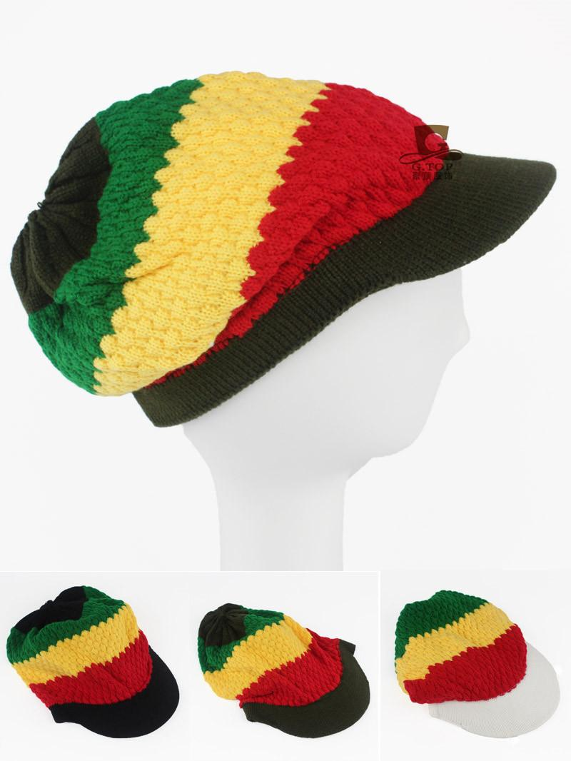 f0bbca18979 Rasta Hat Beanies Knit Hats Beret Crochet Slouchy Tam Reggae Jamaica Style  Visor Hat Unisex Hot Trucker Hats Winter Hats From Gathertopfashion
