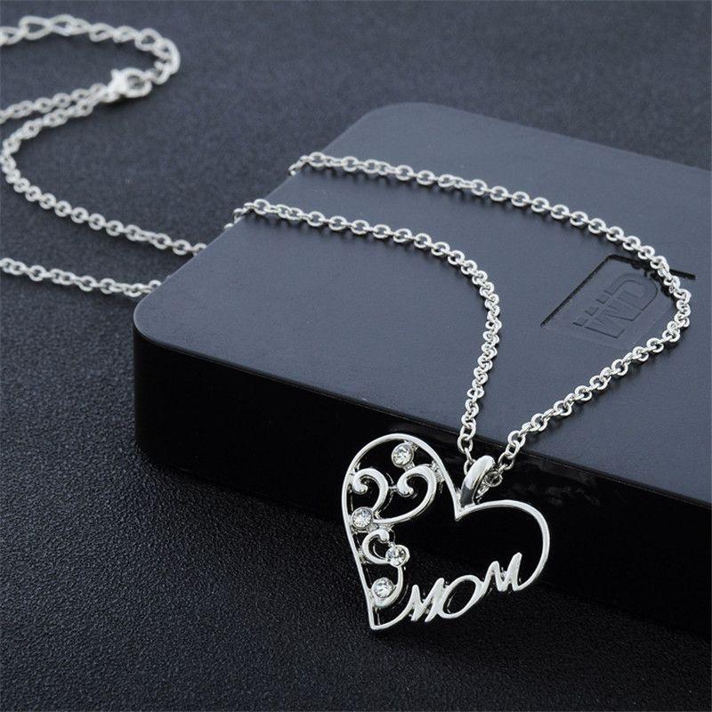 Mode maman collier strass plaqué argent pendentif coeur collier mère collier colliers pour cadeau de fête des mères