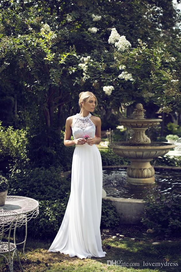 Halter Neck Wedding Dresses 2019 Handmade-Flowers White Lace Sleeveless Long Beach Wedding Chiffon Dresses Open Back Dresses