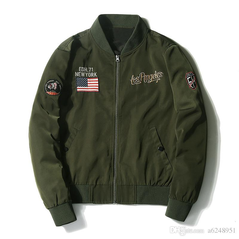 Us Air Force Fly Flight Jacket Embroidery Spring Autumn Retro ...
