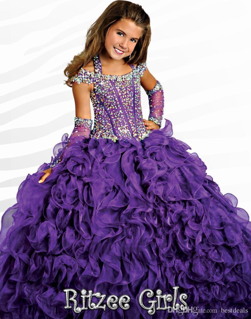 2016 Ritzee Halter Ball Gowns Girls Pageant abiti con maniche ricoperte 2017 perline Crystal Piping pavimento-lunghezza Lace-up ragazze Pageant Gowns
