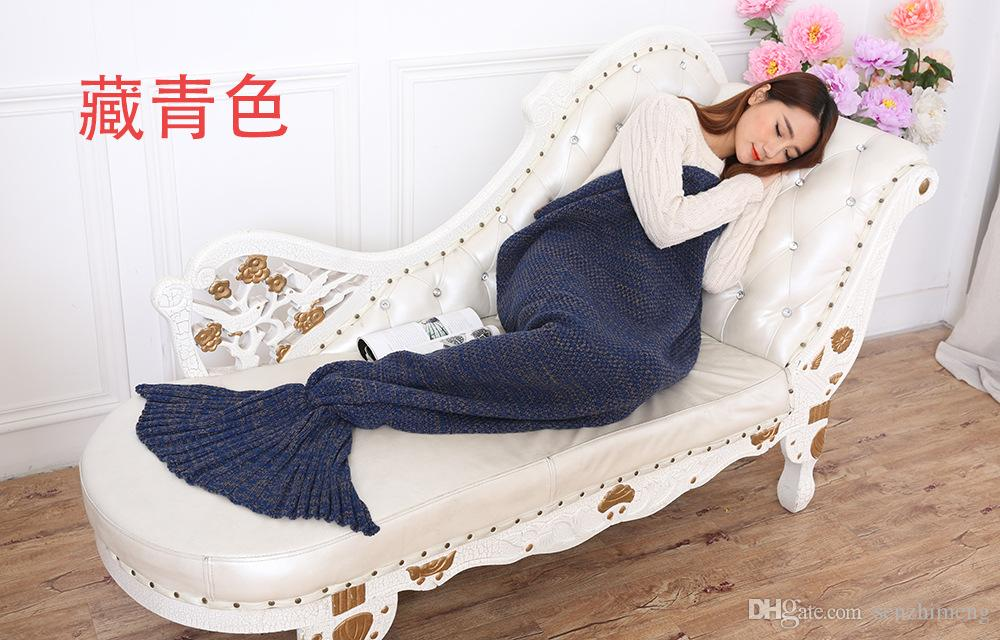 Regalo sorpresa de Navidad Manta de sirena manta de aire acondicionado Manta de TV manta hecha a mano de cola de sirena alfombra tejida