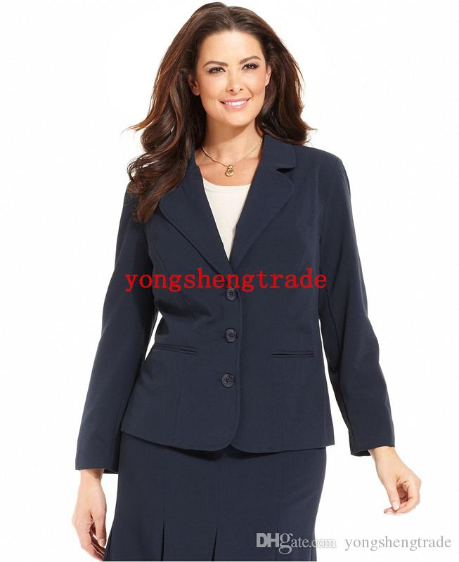 Plus Size Black Stretch Suiting Three Button Jacket & Pleated A-Line Skirt Custom Made Women Suit Back Vent HS7960