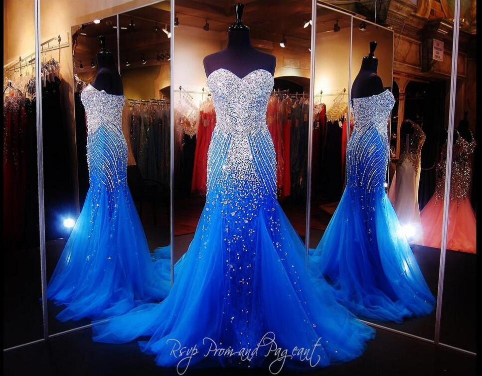 Royal Blue Mermaid Prom Dress 2016 Luxury Sweetheart Sparkly Crystal Beading  Sweep Train Tulle Evening Dresses Women Formal Pageant Gowns Plus Size Prom  ... 6c1d9f6ebcff