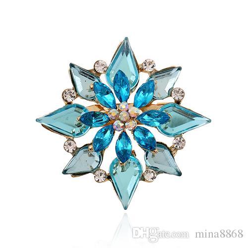 Crystal Butterfly Brooch for Women Rhinestone Broche Fashion Bijouterie Wedding Jewelry Gold Plated Blue Flower Pin DHH155