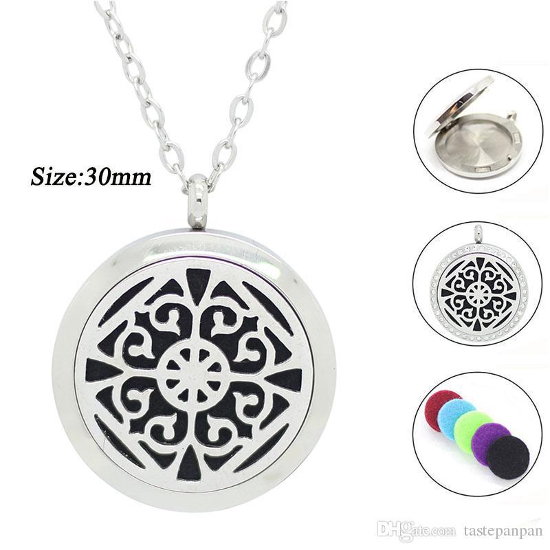 Con catena come regalo! Collana in argento 316L con ciondolo profumato da 25mm 30mm color argento con medaglione