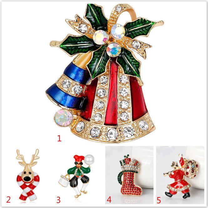 Moda colorida Mental oro plata árbol de Navidad guirnalda broche navidad chica mujer navidad pingüino joyería regalos broche