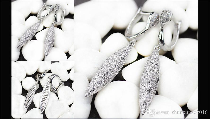 Cuivre Rhodié Plaqué De Mode Boucles D'Oreilles Promotion Blanc Cubique Zirconium MN3214 Noble Généreux Préféré De Noël gif Nouveau Modèle Beau