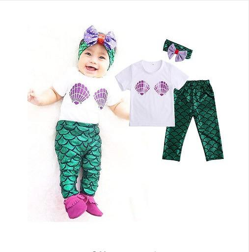 2016 Sommar Baby Girl Kläder Satser Spädbarn Kortärmad T-shirt Toppar + Mermaid Långbyxor + Hårband Toddler Outfits Kids Suit för 0-2Y