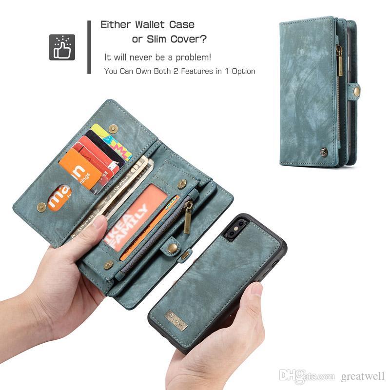 Caseme الجلود المغناطيسي حالة محفظة جلدية سبليت زيبر حقيبة متعددة حالة فتحة للآيفون 12 11 برو ماكس XS XR 6 7 8 زائد CaseMe008