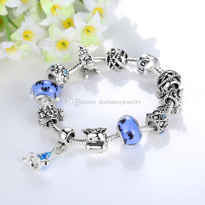 Fashion Pandora Style Charm Bracelets with Blue Murano Glass Beads & Cow Silver Charms & Dangles European Snake Chain Bangle Bracelets BL132