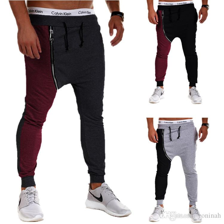 Acheter Justin Bieber Hip Hop Pantalon Sarouel Hommes Baggy Drop Crotch Sport  Pantalon Zipper Jogging Track Pants Casual Mens Joggers Sweatpants De   30.14 ... 2c0dc0c82a7