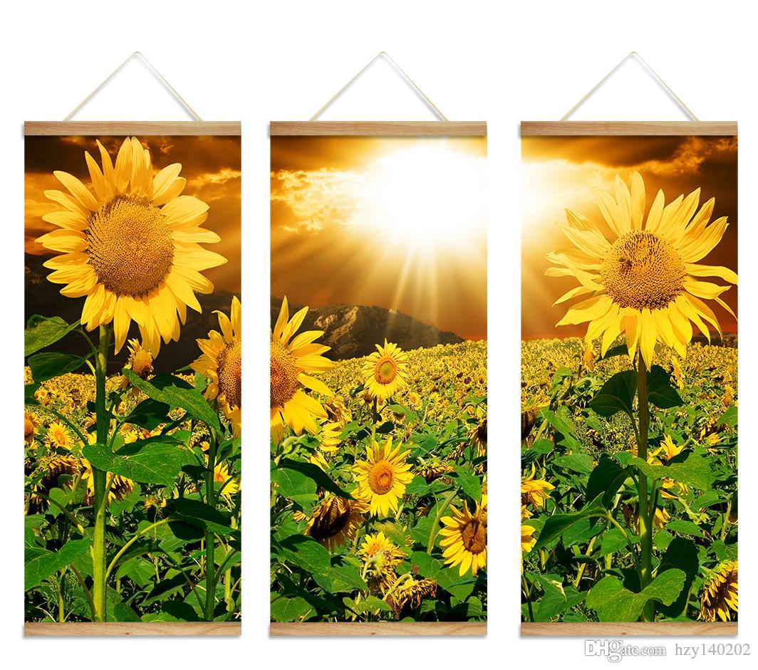 Best Yijiahe Flowers Print Scroll Canvas Painting Sunflower Canvas ...