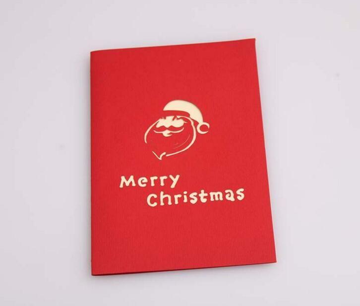 Santa Sled Deer Handmade Kirigami Origami 3D Pop UP Greeting Cards Invitation Postcard For Birthday Christmas Party Gift