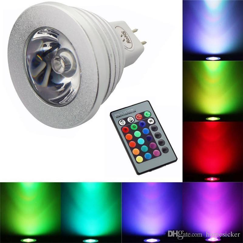 RGB LED 전구 3W 16W 3W LED 스포트 라이트 RGB를 변경하는 led 전구 램프 E27 GU10 E14 GU5.3 24 키 원격 제어 85-265V