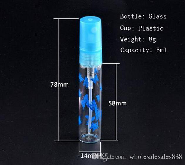 5ml 미니 다시 채울 휴대용 향수 BottleGlass 빈 스프레이 인쇄 병 빈 유리 향수 병 / DHL에 의해 무료 배송