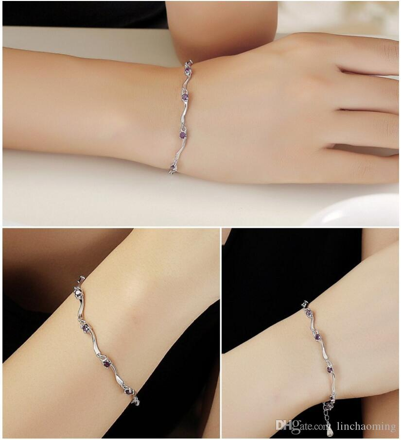 HYWo Exquisite Stylish exquisite minimalist style 925 sterling silver Austria zircon crystal cuff bracelet for women Gifts