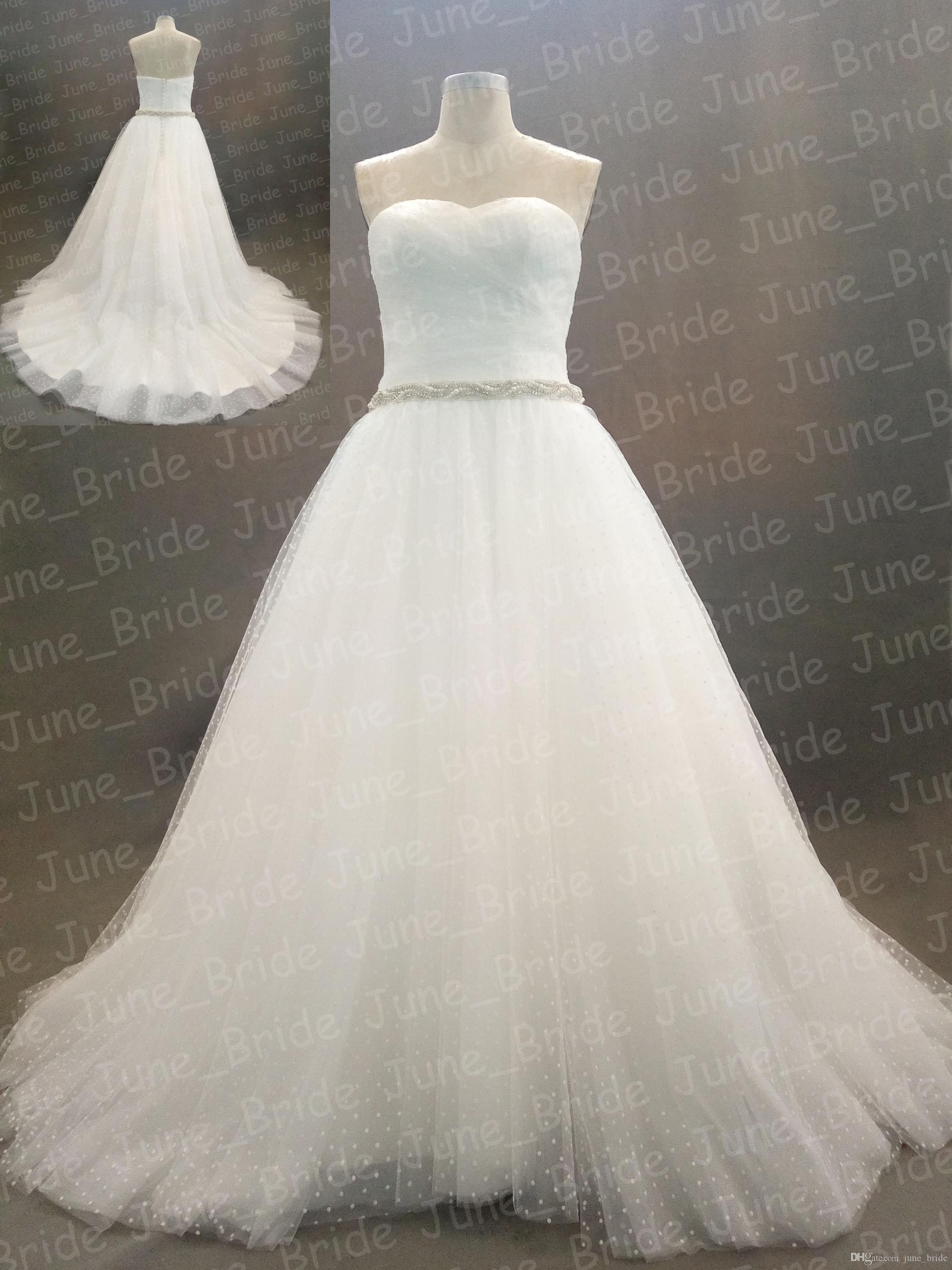 Discount Real Image White Tulle Simple Wedding Dresses Shining ...