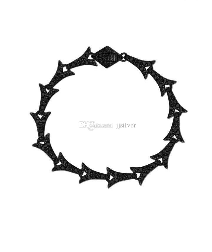 Davieslee Long Carved Skulls Arrow Link Women Bracelet Wristband 925 Sterling Silver Bracelet with Zirconia
