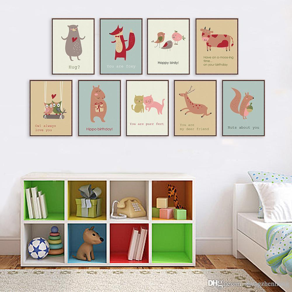2018 Cute Cartoon Animal Cards A4 A3 Art Prints Poster Living Room ...