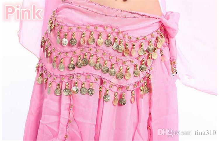 Nouveau 3 Rangées 98 Pièces de monnaie Belly Egypt Dance Hip Jupes Écharpe Wrap Ceinture Costume Haute Qualité Stage Porter B0285